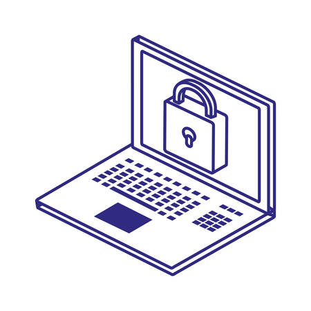 Laptop and padlock design of Security system warning protection danger web alert and safe theme Vector illustration