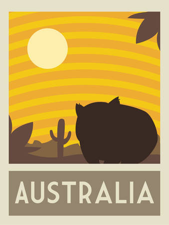 poster with a rodent of australia, postage, stamp, sticker, banner vector illustration design 일러스트