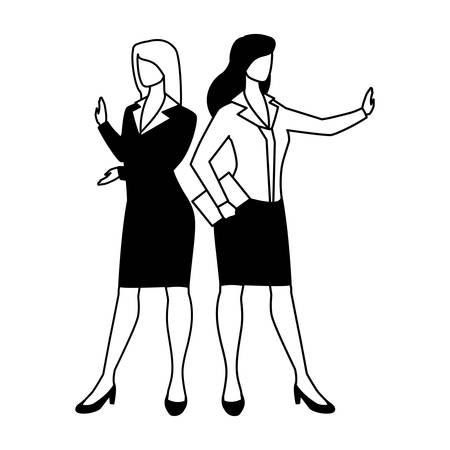 cute businesswomen with various views, poses and gestures vector illustration design Ilustracja