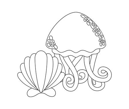 cute jellyfish with seashell vector illustration design