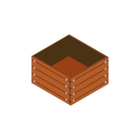 wooden box on white background vector illustration design