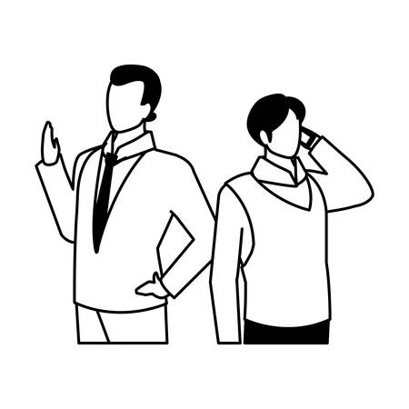 cute businessmen with various views, poses vector illustration design Ilustracja