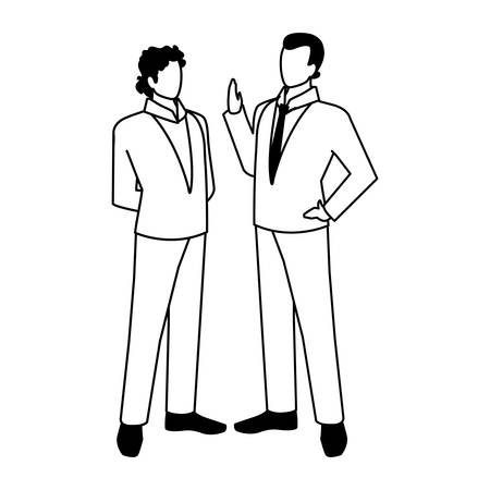 businessmen standing with various views, poses vector illustration design