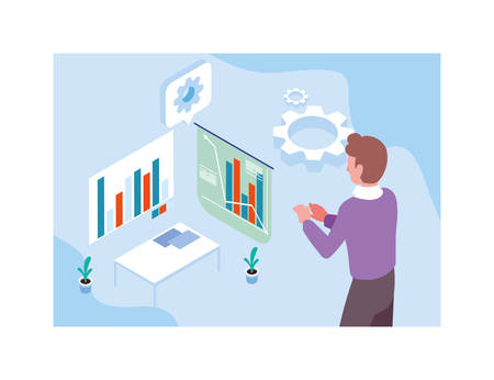 man with graphs in front, business working processes vector illustration design Ilustrace