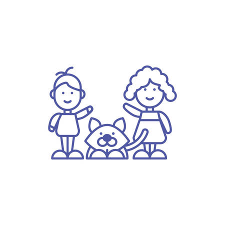 boy and girl cartoon with dog design, Kid childhood little people lifestyle casual person cheerful and cute theme Vector illustration