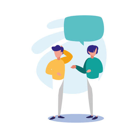 men with communication bubble design, Message discussion conversation talk and technology Vector illustration Vectores
