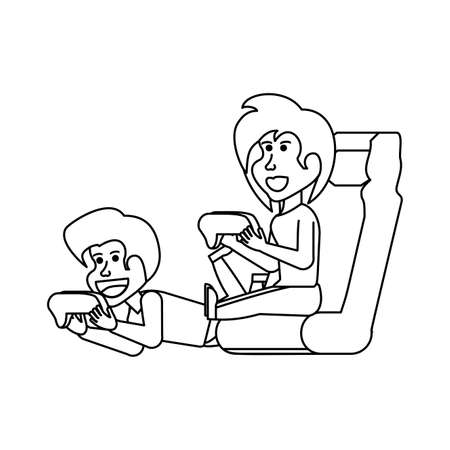 young couple playing video game vector illustration design Stock Illustratie