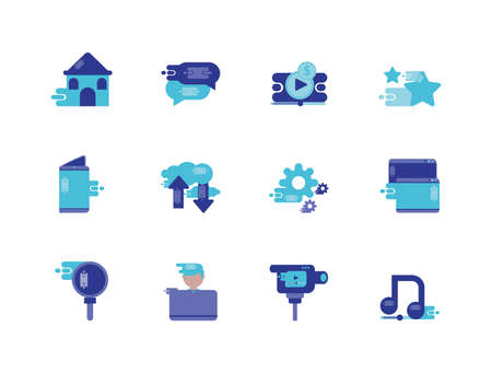 Icon set design, Social media multimedia communication digital marketing internet web and connect theme Vector illustration