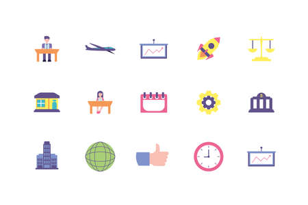 Business icon set design, Management workforce financial item corporate investment success technology and job theme Vector illustration Ilustracja