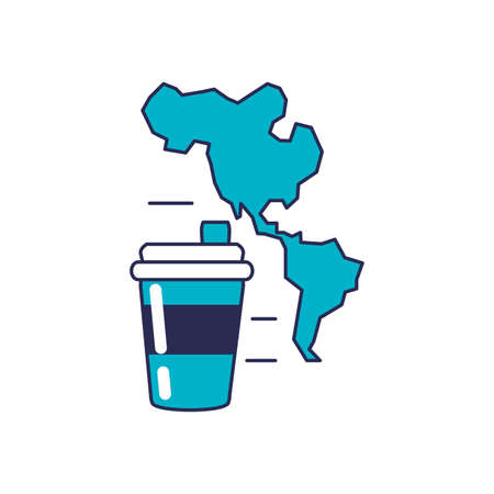 beverage in plastic container with american continent map vector illustration design