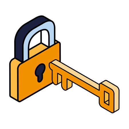 security padlock with key on white background vector illustration design