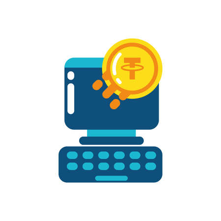 Tether coin and computer design of Cryptocurrency money currency exchange financial bank web internet market electronic finance and net theme Vector illustration