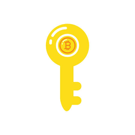 Bitcoin inside key design of Cryptocurrency money bit currency exchange financial bank web internet market electronic finance and net theme Vector illustration Ilustração