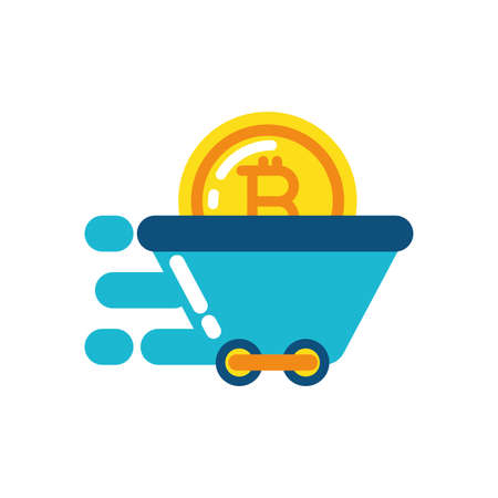Bitcoin inside cart design of Cryptocurrency money currency exchange financial bank web internet market electronic finance and net theme Vector illustration