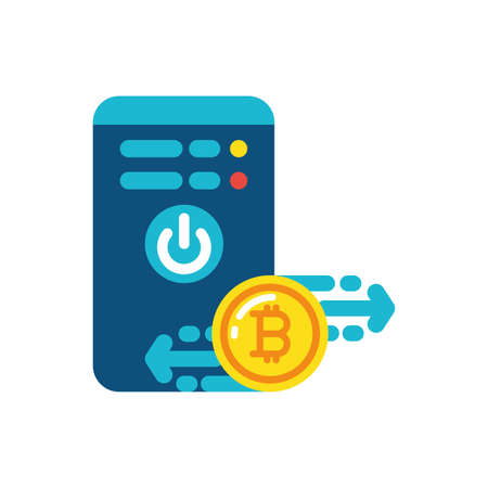 Bitcoin and smartphone design of Cryptocurrency money currency exchange financial bank web internet market electronic finance and net theme Vector illustration