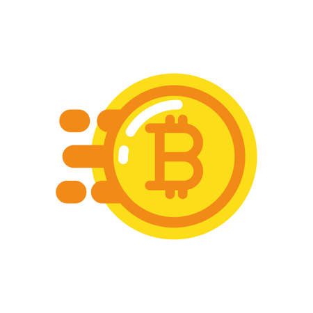 Bitcoin coin design of Cryptocurrency money currency exchange financial bank web internet market electronic finance and net theme Vector illustration Ilustração