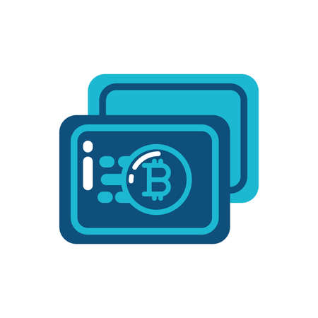 Bitcoin strongbox frame design of Cryptocurrency money currency exchange financial bank web internet market electronic finance and net theme Vector illustration