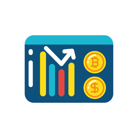 Bitcoin dollar and infographic design of Cryptocurrency money currency exchange financial bank web internet market electronic finance and net theme Vector illustration Ilustração