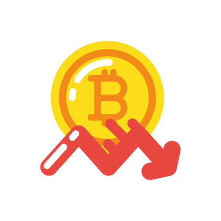Bitcoin and decrease arrow design of Cryptocurrency money currency exchange financial bank web internet market electronic finance and net theme Vector illustration