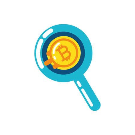 Bitcoin inside lupe design of Cryptocurrency money currency exchange financial bank web internet market electronic finance and net theme Vector illustration
