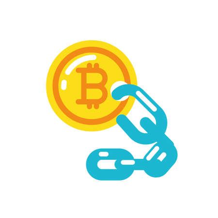 Bitcoin and chain design of Cryptocurrency money currency exchange financial bank web internet market electronic finance and net theme Vector illustration