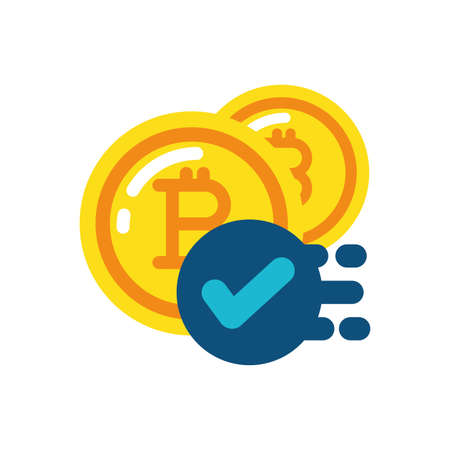 Bitcoins and check mark design of Cryptocurrency money currency exchange financial bank web internet market electronic finance and net theme Vector illustration
