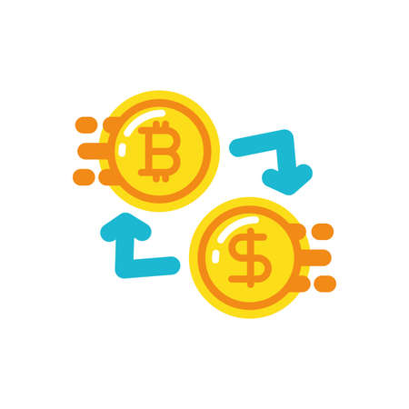 Bitcoin and arrows design of Cryptocurrency money currency exchange financial bank web internet market electronic finance and net theme Vector illustration