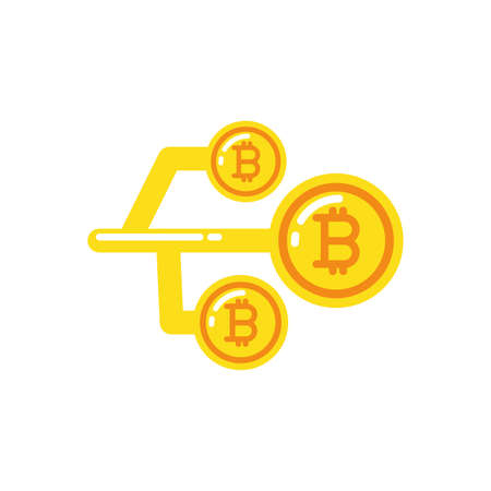 Bitcoins and circuit design of Cryptocurrency money currency exchange financial bank web internet market electronic finance and net theme Vector illustration