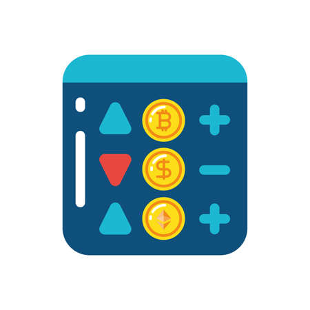 Bitcoin dollar ethereum increase and decrease board design of Cryptocurrency money currency exchange financial bank web internet market electronic finance and net theme Vector illustration Ilustração
