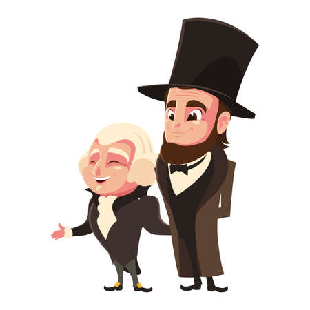 cartoon of presidents george washington and abraham lincoln, president day vector illustration design