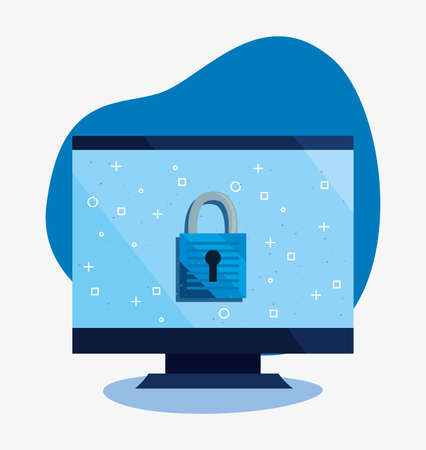 computer secure locked cybersecurity data protection vector illustration