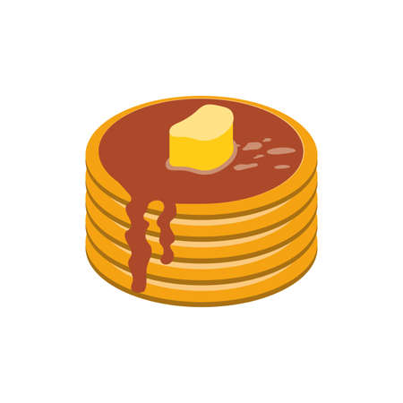 pancakes with butter design, Breakfast food meal fresh product natural store and cooking theme Vector illustration 일러스트