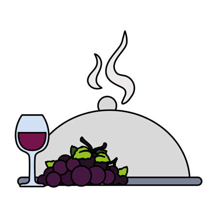wine glass with grapes and tray server on white background vector illustration design Illustration