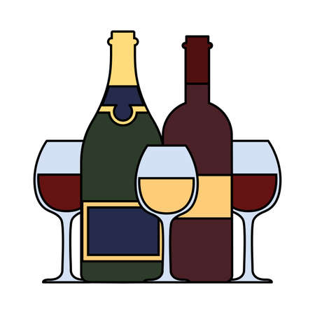 set of wine bottle with wineglass on white background vector illustration design