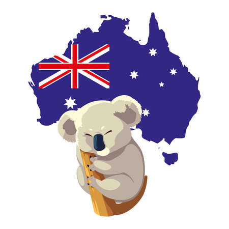 cute koala with map of australia in the background vector illustration design
