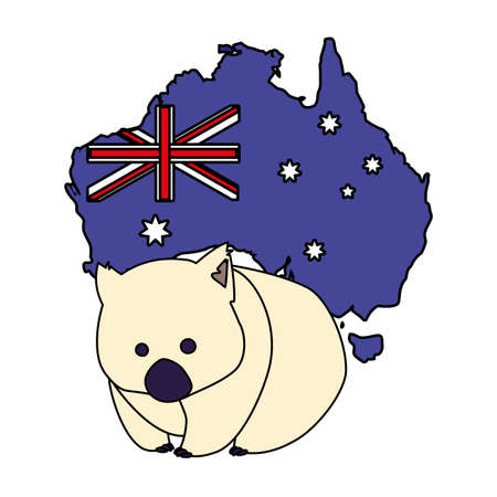 wombat with map of australia in the background vector illustration design