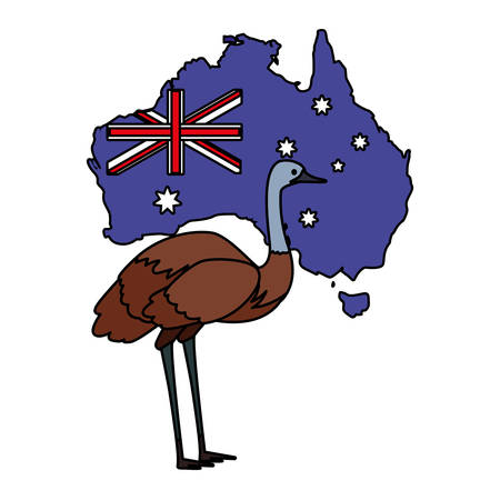 emu with map of australia in the background vector illustration design Иллюстрация