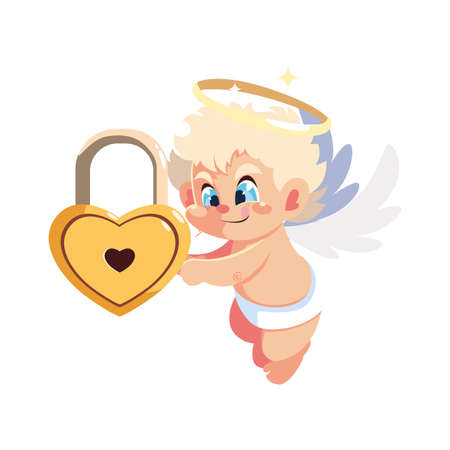 cute cupid angel on white background , valentines day vector illustration design Vettoriali