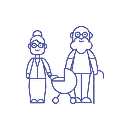 Grandfather grandmother and baby design, Family relationship generation lifestyle person character friendship and portrait theme Vector illustration Vecteurs