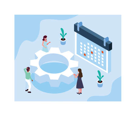 group of people working and planning their business vector illustration design