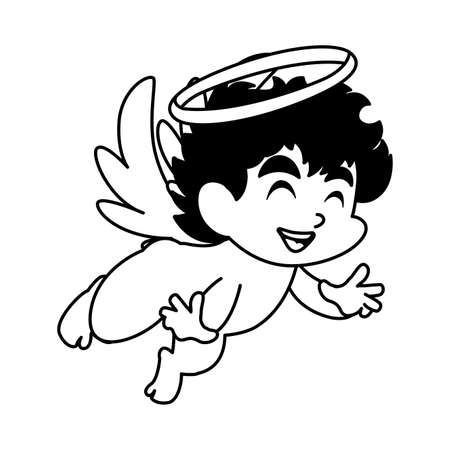 carino angelo cupido su sfondo bianco, disegno di illustrazione vettoriale di san valentino Vettoriali
