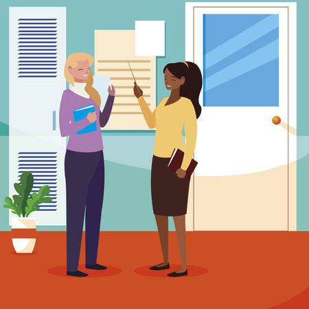 interracial female teachers couple in school corridor vector illustration design Banque d'images - 139513167