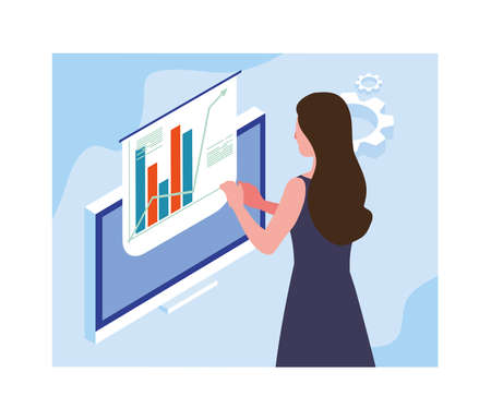 woman working in front of computer screen vector illustration design
