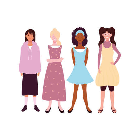 women standing with different poses on white background vector illustration design Vectores