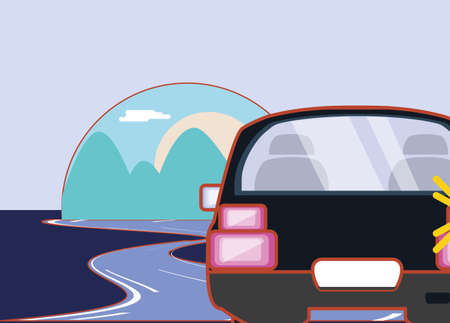 car on the road over purple background, colorful design. vector illustration