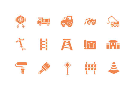Tools icon set design, Under construction architecture work repair progress warning industry and build theme Vector illustration