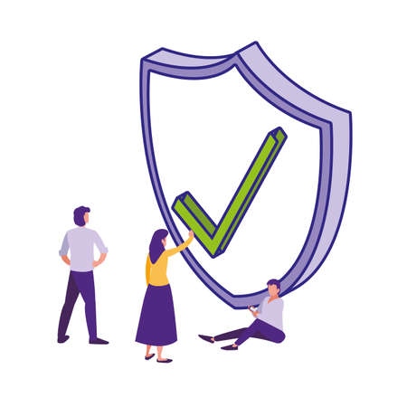 People and shield design of Security system warning protection danger web alert and safe theme Vector illustration