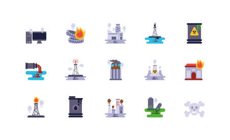 Icon set design, Climate change global warning pollution environment nature green and extreme danger theme Vector illustration
