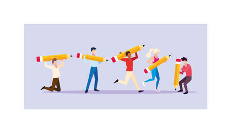 group of people with pencils to write vector illustration design