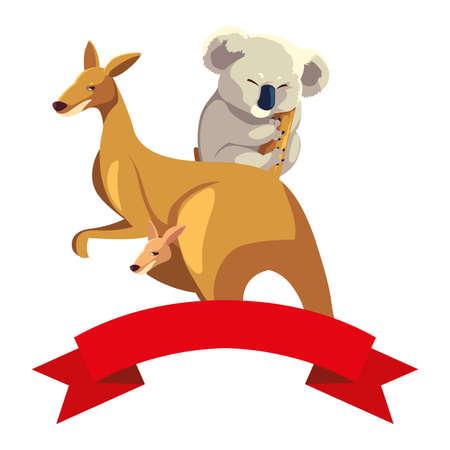 kangaroo and koala on white background vector illustration design